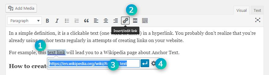 4 steps to create an anchor text in wordpress